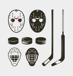set of hockey equipment and gear helmet mask and vector image vector image