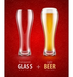 Beer in the glass and empty vector