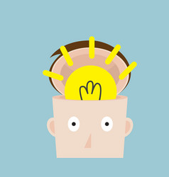bulb idea in head vector image vector image