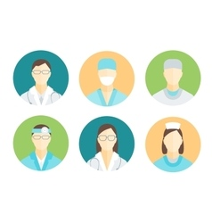 Doctors and Medical Staff in Circle Set vector image vector image
