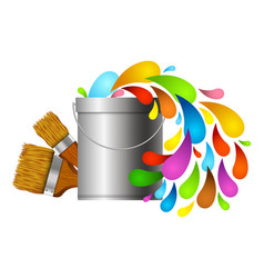 drops of paint and brush vector image vector image