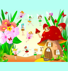 fairies fly around the mushroom house vector image