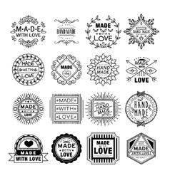 Handmade emblems in linear style vector