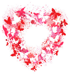 heart shaped frame made of spray and butterflies vector image vector image