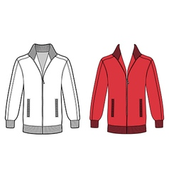 Long sleeve jacket with zipper outlined template vector image vector image