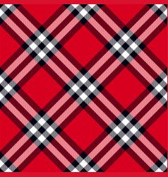 Scottish plaid in red black white vector