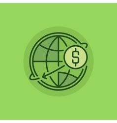 Transfer money green icon vector image vector image