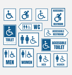 accesible restroom signs toilet sign for desabled vector image vector image