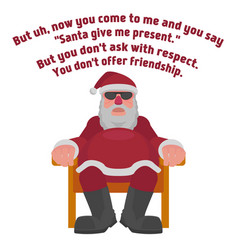 fat santa in sunglasses in the style of the film vector image vector image