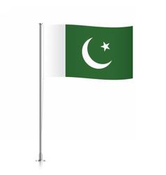 Pakistani flag waving on a metallic pole vector