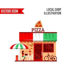 pizza restaurant with terrace in front vector image vector image