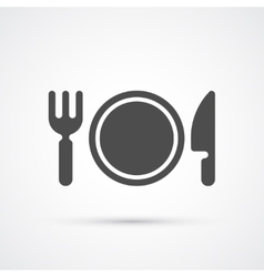 Plate with fork and knife trendy icon vector image