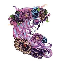 Sugar Skull Girl in Flower Crown2 vector image