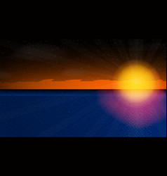 sunny sunset over the sea vector image