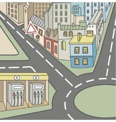 urban street and homes vector image