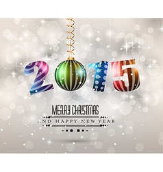 2015 merry christmas and happy new year flyer vector image