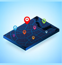 3d map with gps destination point 002 vector