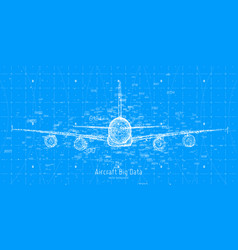 Abstract plane big data graph visualization vector