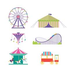 Amusement park set Ferris wheel roller coaster vector