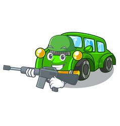 Army classic car isolated in cartoon vector