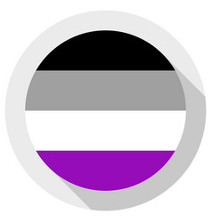 Asexual pride flag round shape icon on white vector