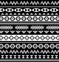 Aztec tribal seamless black and white pattern vector
