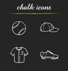 baseball chalk icons set vector image