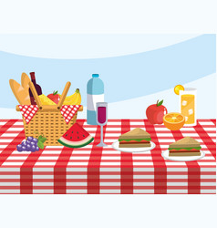 basket with water bottle and lemonade glass in the vector image