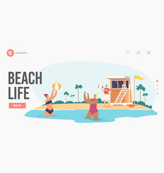 Beach life landing page template lifeguard male vector