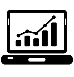 Black laptop and chart icon on white vector