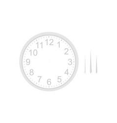 Blank white round clock face mockup vector