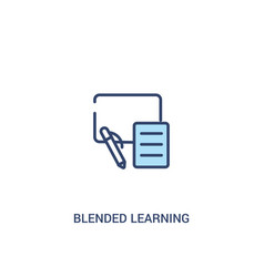 Blended learning concept 2 colored icon simple vector