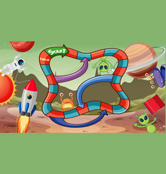 Board game with cute alien theme template vector