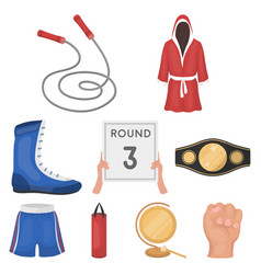 boxing set icons in cartoon style big collection vector image