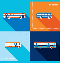 bus icon set public transportation modern flat vector image