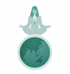 Businesswoman with glasses doing yoga on the top vector