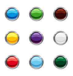 Buttons for website icons set cartoon style vector