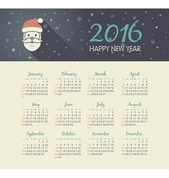 Calendar 2016 year with Santa Claus face vector