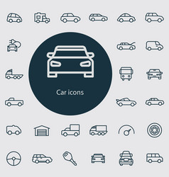 car outline thin flat digital icon set vector image