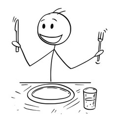 Cartoon of hungry man with fork and knife waiting vector