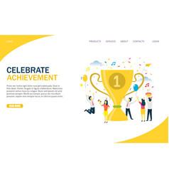 Celebrate achievement website landing page vector