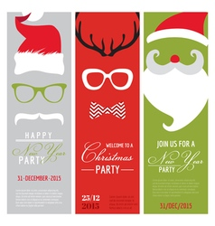 Christmas and New Year Retro Party Cards vector