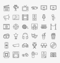 Cinema movie line icons set vector
