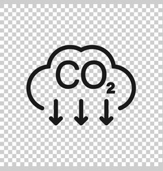 Co2 icon in flat style emission on white isolated vector