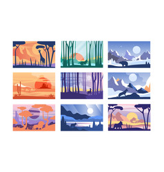 Collection of beautiful scene of nature peaceful vector