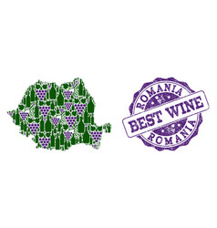 Composition of grape wine map of romania and best vector