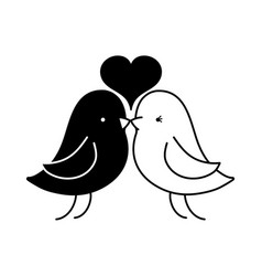Contour bird dove lover with heart design vector