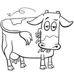 cow farm animal character cartoon coloring book vector image