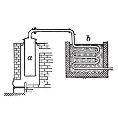 Cylindrical iron retort and condenser vintage vector