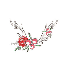 Deer horns with red flowers and berries hand vector